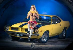 blonde, car, socks, boobs, shoes, classic, red shorts, sexy, model, mopar, muscle car, pin up, handbra, 1970 cuda race car
