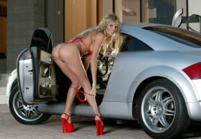 babe, nude, car, pussy, red bikini, heels, ass, blonde, long legs, model, sexy, open door, sarah, audi tt, audi, actiongirls, nikki kyle