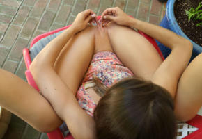 charity crawford, brunette, outdoors, chair, naked, sundress, shaved pussy, labia pull, stretched labia, spread legs, hi-q, als