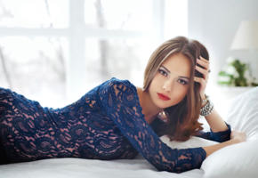 catherine timokhina, model, russian, undies, blue dress, vogue, bed, brunette, red lips