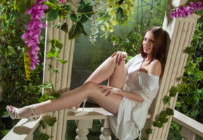 isabella, famegirls, dress, garden of eden, redhead, legs, smile