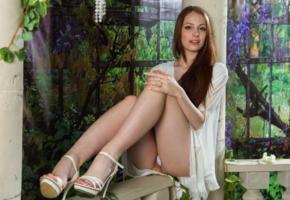 isabella, famegirls, dress, garden of eden, redhead, legs, sexy