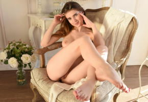 caramel, metart, long hair, pussy, smile, tits, boobs, legs, flowers, chair, sexy feet, beautiful toes