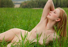 annet a, long hair, ass, shaved pussy, redhead, tits, grass, anett a