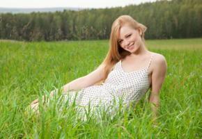 annet a, long hair, redhead, grass, smile, non nude, summer dress, anett a
