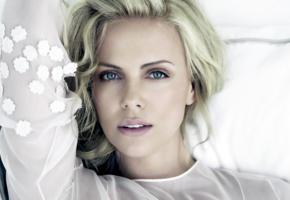 charlize theron, actress, blonde, blue eyes
