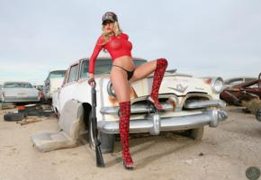 heather rae, tits, hat, rusty car, dirt, see thru top, shotgun, heels, skulls, tires, outdoors, model, sexy, boots, see through, gun