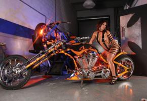monica, heels, boobs, garage, hot, sexy, light, brunette, bike, oiled, actiongirls