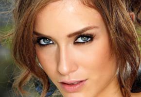 malena morgan, model, brunette, blue eyes, lips, beautiful, face