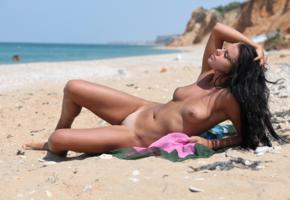 beach, girl, sexy, nude, naked, nude beach, tanned, boobs, tots, tan lines, zemani, maura, carmen d