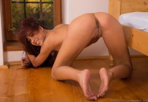 paula shy, brunette, naked, pussy, ass, doggy position, doggy, smile, labia