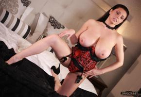 ewa sonnet, brunette, big tits, huge tits, big bobs, huge boobs, sexy, nipples, boobs, topless, bed