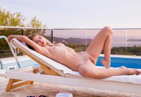 hilary c, lerae, kseniya, amy, jenna, jenny, brunette, pool, naked, tits, labia, spread legs, hi-q, shaved pussy