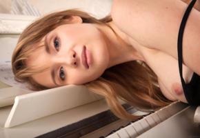 tempe, monika v, model, beautiful, blonde, blue eyes, smile, sensual lips, tits, piano