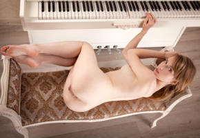 tempe, monika v, model, pretty, blonde, blue eyes, latvian, tits, nude, pussy, shaved pussy, labia, meat curtains, anus, bum, ass, bare feet, sofa, piano