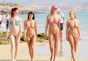 melissa mendiny, cameltoe, beach, bikini, 4 babes, four, quartet, melisa mendiny, ariel piper fawn, chikita, bianca, cikita, smile, sea, micro bikini
