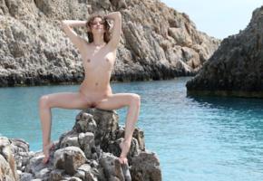 heidi romanova, heidi, model, young, brunette, curly, latvian, tits, boobs, nude, cliff, ocean, sea, nature, outdoor