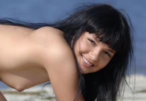 sherry lawson, beach babe, smile, beach, sea, tits