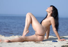 sherry lawson, beach babe, smile, ass, beach, sea, nude, pussy, small tits