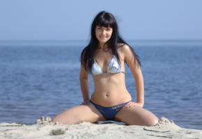 sherry lawson, beach babe, bikini, smile, beach, sea, black hair