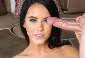 megan rain, megan rains, meagan, brunette, hard cock, cum on face, hi-q, sperm, dick, cumshot