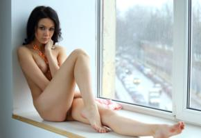 sheri vi, joanna, darina, genie, divina, model, dark hair, babe, russian, tits, pussy, perfect girl, perfect body, legs, window, nude, graceful feet