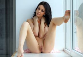 sheri vi, joanna, darina, genie, divina, model, babe, russian, dark hair, sensual lips, perfect girl, tits, open legs, spreading legs, pussy, shaved pussy, labia, window, hot