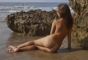 karina, hegre art, nude, beach, sea, brunette, ass, wet, tanned