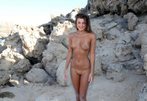 maria ryabushkina, maria, tara, melena, maria rya, melena a, brunette, outdoors, rocks, tits, nipples, shaved pussy, tanlines, smile, hi-q