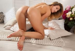 cara mell, rena, sexy girl, adult model, nude, naked, kneeling, ass, buttocks, pussy, labia, flowers, vase, cushions, tanned
