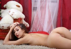 sakura, asian, girl, teddy, ass, pussy, labia, brunette, nude