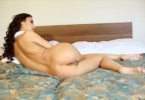 sakura, asian, girl, bed, ass, pussy, labia, brunette, legs, nude