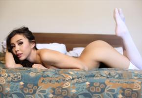 sakura, asian, girl, bed, brunette, legs, nude, white stockings, stockings