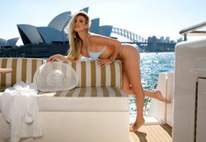 jessica nelson, blonde, sexy girl, hot girl, sydney opera house, australia, sydney, bikini, hat, legs