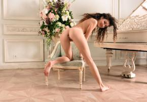 cualy, maxine t, model, young, brunette, russian, smile, sweet, back, doggy, pussy, shaved pussy, labia, anus, ass, legs, feet, piano, flowers