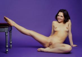 meli x, sweet, cute, sexy girl, adult model, pussy, labia, boobs, tits, nude, smile, shaved pussy, spreading legs, brunette