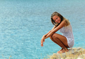 katya clover, dress, white dress, smile, tanned, sea, squatting