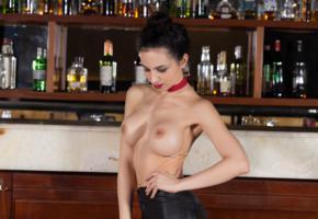 flavia de celis, brunette, sexy girl, adult model, bar, boobs, tits, topless, fake tits
