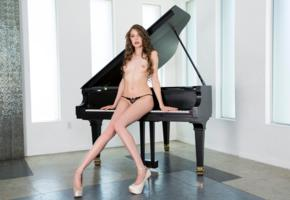 elena koshka, sexy girl, adult model, panties, legs, brunette, piano, long legs, small tits