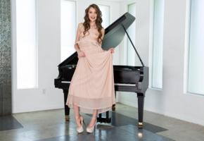 elena koshka, sexy girl, adult model, dress, brunette, piano, small tits