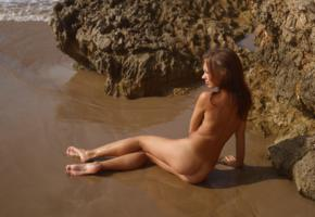 sheri vi, joanna, darina, karina, genie, divina, model, brunette, russian, nude, tanned, tanned lines, beach, sand, cliffs, wet, ass