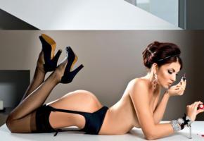 daria petukhova, top model, brunette, stockings, lingerie, garters, sexy, russian, high heels, ass, hugh hefner tribute
