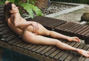 perfect body, brunette, nude, naked, outdoor, legs, labia, ass, pussy, hot, chaise-longue, unknown