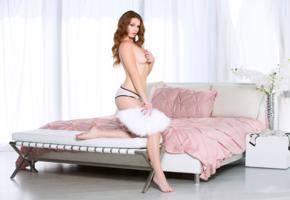 tawny swain, sexy girl, adult model, lingerie, bed, panties, topless, handbra