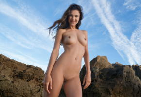 lauren, landscape, brunette, perfect shapes, shaved pussy, boobs, tits, smile