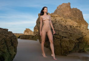 lauren, landscape, brunette, perfect shapes, shaved pussy, boobs, tits, smile, beach, tanned, rocks