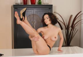 pammie lee, brunette, sexy girl, adult model, boobs, tits, legs up