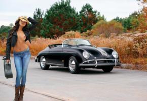 nina james, cowgirl, guitar case, car, 1958, porsche, comvertible, topless, tits, jeans, cowboy boots, hat, pierced navel, hi-q, leather jacket, porsche 356
