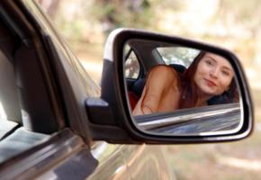 berenice, model, pretty, smile, face, car, rearview