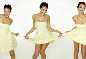 jessica alba, cute, young, actress, teen, teenager, seventeen, collage, summer dress, dress